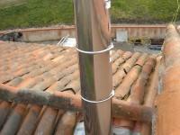 Conduit de fumées inox double paroi isolé pour chaudière à bois bûche. Saverdun (09).