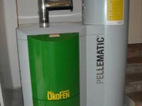 Chaudière bois granulés manuelle OKOFEN 10kW pour chauffage central et eau chaude sanitaire (réserve de 130kg). Menville (31).