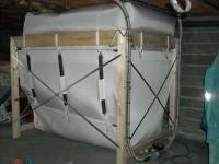 Silo textile, version compacte, pour chaudière bois granulés à aspiration OKOFEN 25kW. Les Bordes sur Arize (09).