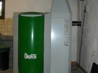 Chaudière bois granulés à aspiration OKOFEN 25kW pour chauffage central et eau chaude sanitaire. Les Bordes sur Arize (09).
